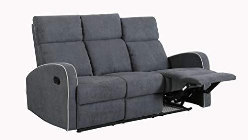 Furnituremaxi Boston Slate Grey Fabric 3 Seater Recliner Sofa