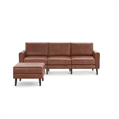 Burrow Nomad 86' Leather Sofa with Ottoman, 3-seat, Chestnut Brown, 24' H Arms, Black Wood Legs