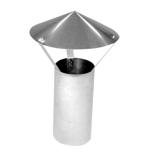 Kamino Flam Regenhaube in Silber, feueraluminierter Regenschutz im Durchschnitt ca. 120 mm, langlebiger Resenabweiser für Kaminrohr