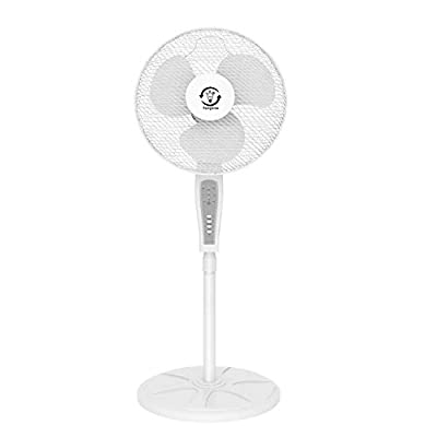 "Famgizmo 16"" Pedestal Fan(118cm-130cm),3 Speed, Remote Control,Quiet Operation, Oscillating, Adjustable Height, Floor Cooling Fan, Ideal for Home and Office, White"