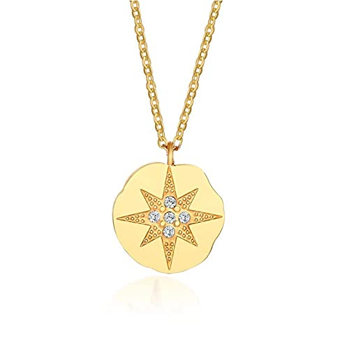 Freaiaqy Collar de Gargantilla de Mujer con Flor de Sol de Cristal Griego, Colgante de Moneda de Acero Inoxidable, Flor de Resplandor Solar, Regalos Elegantes para niñas