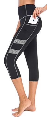 Neonysweets Women's Workout Leggings Phone Pocket Running Yoga Pants (Large, YogaCapris2043-Black/Gray)