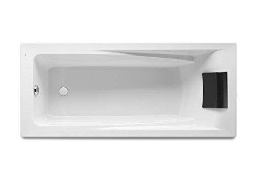 Roca - Bañera acrílica rectangular con hidromasaje Total y juego de desagüe - Serie Hall, Color Blanco