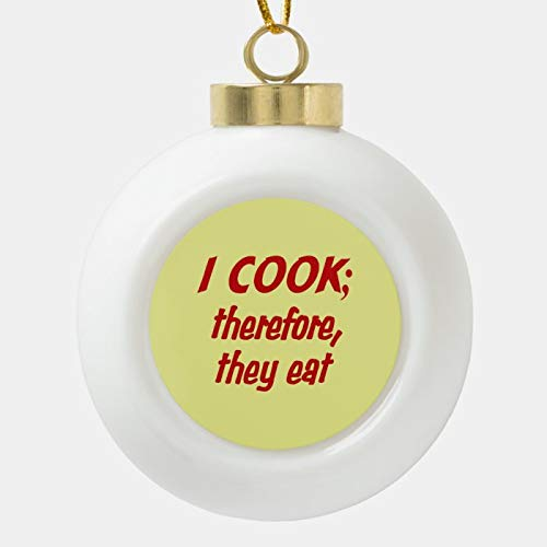 Dom576son Christmas Ball Ornaments, Chef'S Philosophy - Red And Yellow Ceramic Ball Christmas Ornament, Shatterproof Christmas Decorations Tree Balls for Holiday Wedding Party Decoration