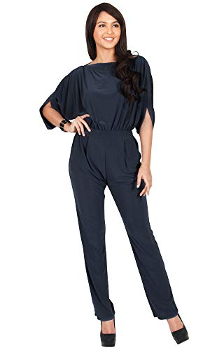 KOH KOH Plus Size Womens Short Sleeve Sexy Formal Cocktail Casual Cute Long Pants One Piece Fall Pockets Dressy Jumpsuit Romper Long Leg Pant Suit Suits Outfit Playsuit, Slate Gray Grey 2XL 18-20