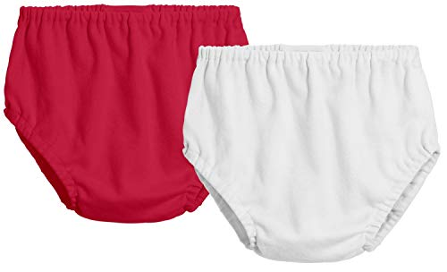 City Threads 2-Pack Baby Girls' and Baby Boys' Unisex Diaper Covers Bloomers Soft Cotton, Red/White, 4T