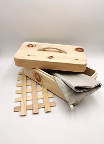 JOWE® Zirbenbrotdose | Brotdose aus Zirbe | Brotkasten aus Zirbenholz | mit Gitterrost und Brotsäckchen aus Bio-Bauernleinen