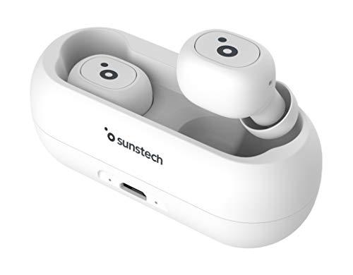 SUNSTECH WAVEPODS LITE. Auriculares TWS Inalámbricos Bluetooth 5.0 In-Ear. Ligeros (5 gr). Controles Multifunción. Base de Carga magnética y micrófono Incorporado para iPhone y Android. Color Blanco