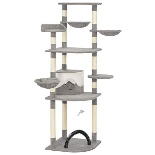 vidaXL Kratzbaum mit Sisal-Kratzsäulen Haus Maus-Spielzeug Katzenbaum Katzenkratzbaum Kletterbaum Spielbaum für Katzen Spanplatten Plüsch Grau 190cm