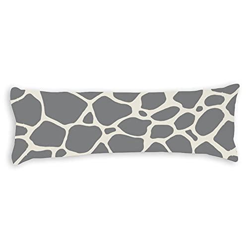 Funda de almohada con estampado de jirafa, color gris neutro, con cierre de cremallera oculta, para sofá, banco, cama, decoración del hogar, 50,8 x 137,2 cm