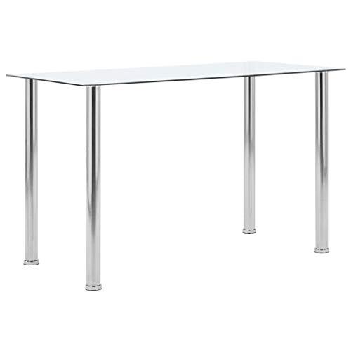 vidaXL Esstisch Küchentisch Esszimmertisch Glastisch Speisetisch Tisch Esszimmer Küche Transparent 120x60x75cm Hartglas Edelstahlrahmen