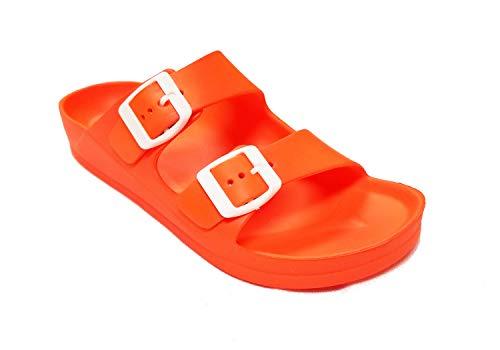 H2K Womens Comfort Slides Adjustable Double Buckle EVA Flat Slide Sandals (Neon Orange, 7)