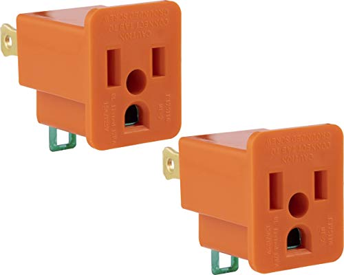 GE Polarized Grounding Outlet Extender, 2 Pack, Turn 2-Prong into 3, Easy to Install, Indoor, UL Listed, Orange, 14404