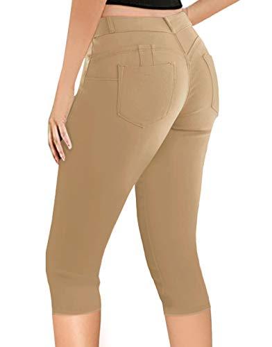 Women's Butt Lift Super Comfy Stretch Denim Capri Jeans Q43308X Khaki 20 Plus