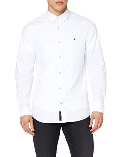 Tommy Hilfiger Core Stretch Slim Poplin Shirt Camisa, Blanco (Bright White 100), Large para Hombre