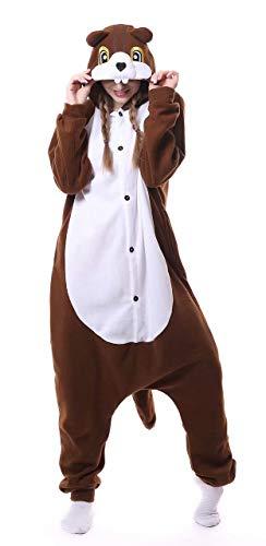Dorliki Pijama para Adultos Cosplay Disfraz de Animal para Halloween Navidad Ropa de Dormir Ardilla S
