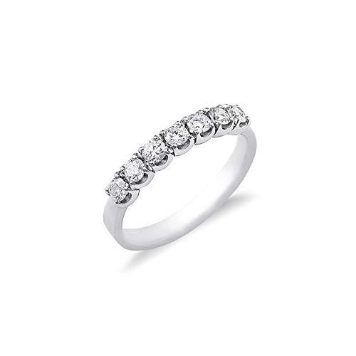 Gioielli di Valenza - Anello Veretta a 7 pietre in Oro bianco 18k con diamanti ct. 0,42 - FE701045BB - 9