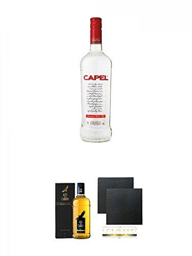 Pisco Capel Reservado chilenischer Brandy 0,7 Liter + Pisco Alto del Carmen Reservado chilenischer Brandy 0,7 Liter + Schiefer Glasuntersetzer eckig ca. 9,5 cm Ø 2 Stück