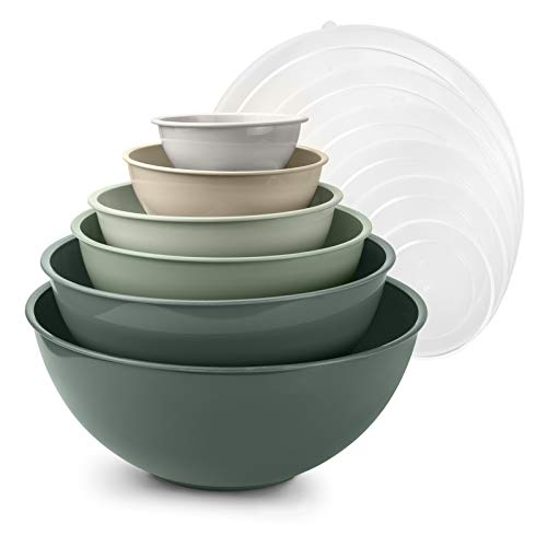 Cook with Color Mixing Bowls with Lids  12 Piece Plastic Nesting Bowls Set includes 6 Prep Bowls and 6 Lids Microwave Safe Mixing Bowl Set Green