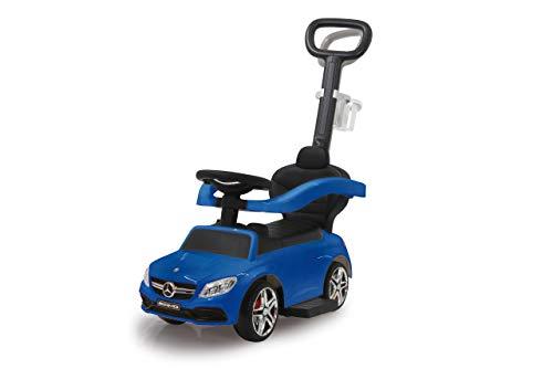 JAMARA 460447 Rutscher Mercedes-AMG C 63 3in1-Kippschutz, Kofferraum, Schub-und Haltestange mit Lenkfunktion, Rückenlehne, Schutzbügel, ausziehbare Fußauflage, Sound/Hupe am Lenkrad, blau