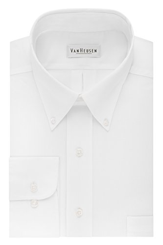 Van Heusen Regular Fit Twill Solid Button Down Collar Dress Shirt, White, XX-Large