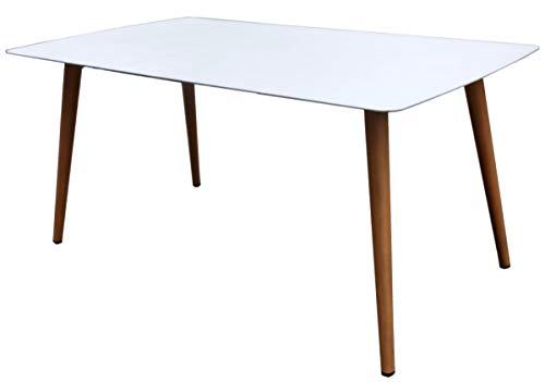 PEGANE Table de Jardin en Aluminium Blanc/Effet Bois - 160 x 90 x 76 cm