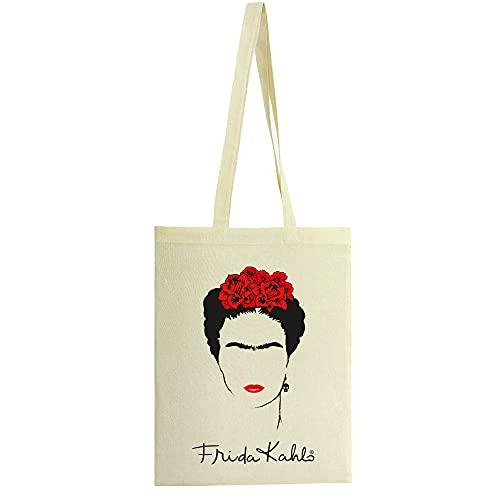 Frida Kahlo Bolsa de tela 100% algodón con asas largas Complemento de moda para mujer. Bolsa reutilizable para la compra fabricada en España. Diseño original Autorretrato Frida.