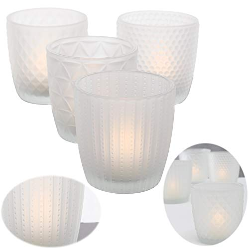 LS-LebenStil 4x Glas Teelichthalter Weiß Frosted 7cm Windlicht-Halter Kerzenständer