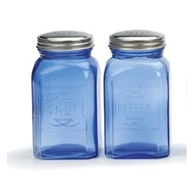RSVP Retro Blue Glass Salt & Pepper Shakers