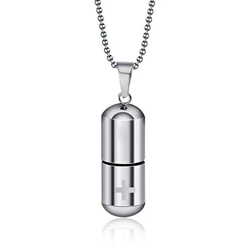 Rainbowie 1 pieza de plata oro acero inoxidable cruz pastillero colgante cremación collar