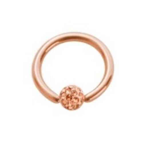 eeddoo Piercing-Ring BCR Epoxy-Kristall Rosegold Edelstahl Stärke: 1,6 mm Länge: 8 mm Kugel 4 mm Kristall: klar