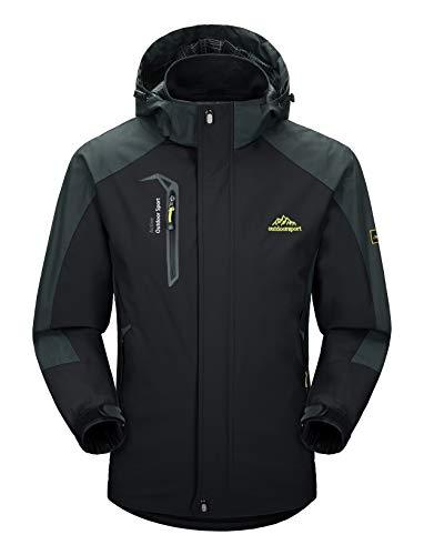 MAGCOMSEN Herren Outdoorjacke Skijacke Wasserdicht Windstopper Jacke Atmungsaktiv Wanderjacke für Männer Winterjacke mit Abnehmbarer Kapuze Schwarz L