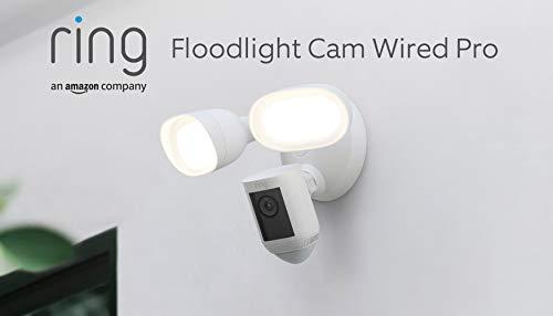 Te presentamos la Ring Floodlight Cam Wired Pro de Amazon: vídeo HDR 1080p, detección de movimiento 3D e instalación mediante cableado | Prueba gratuita de 30 días del plan Ring Protect | Blanco