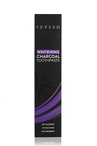 SEYSSO Carbon Whitening Charcoal Zahnpasta • SCHWARZ - Mit Aktivkohle • Enthält Kokosnussöl, Hydroxylapatit, Xylitol • Kein SLS, Sulfate, Parabene oder Fluorid • Minzgeschmack