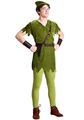 Adult Plus Size Peter Pan Costume with Hat, Shirt, Tights, Belt/Harness and Wrist Cuffs 2X Green
