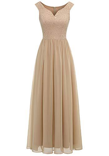Aupuls 0070 Elegant Abendkleid Spitzen Maxi Chiffonkleid V-Ausschnitt Bodenlang Kleid Champagner S
