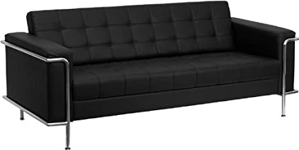Flash Furniture HERCULES Lesley Series Contemporary Black Leather Sofa with Encasing Frame