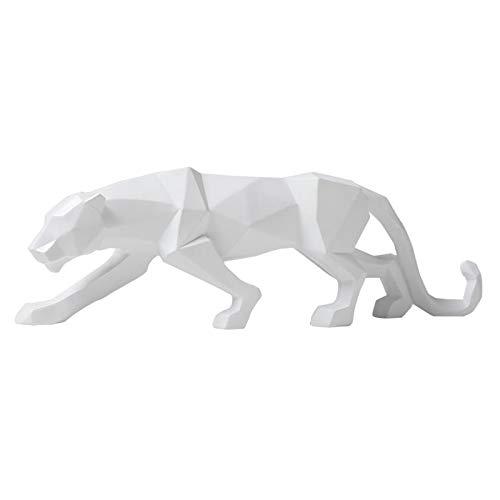 Baoblaze Escultura de Leopardo Moderna, Figuras de Pantera coleccionables, estatuas de Animales de Resina, decoración de Vida Silvestre para Escritorio, Blanco
