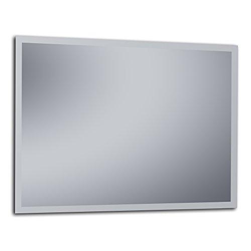 "Kristaled Belice ""L"" Bisel Mate 120x80 cm (Colgador Especial focos Pinza) Espejo, Cristal, Plateado, 120x80x2.5 cm"