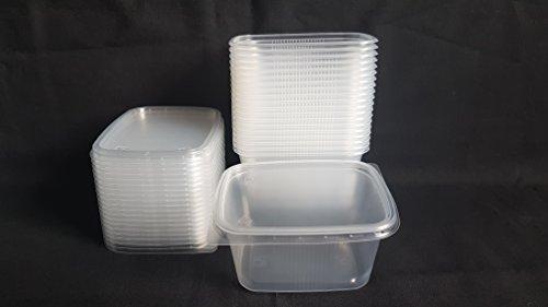 20 piezas 300 ml pequeño rectangular desechables de plástico cubo de recipientes con tapa para alimentos.
