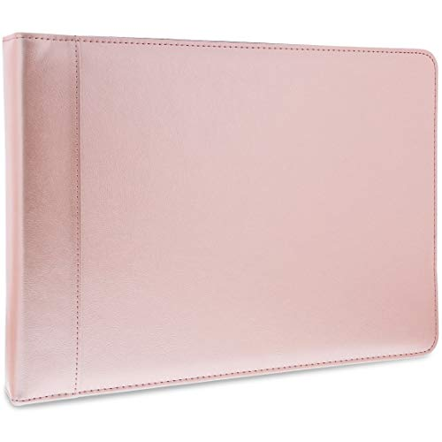 Juvale 7 Ring Business Check Binder with Zipper, Rose Gold