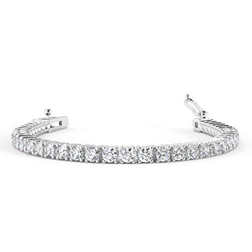 Braccialetto tennis da donna con diamante rotondo da 2,00 carati, personalizzabile, in oro marchiato e Oro bianco, cod. BR113.1