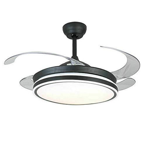Ventilador de techo LED 42 pulgadas, alas retráctiles, mando a distancia 3 velocidades, 3 cambios de color, decoración e iluminación para salón dormitorio