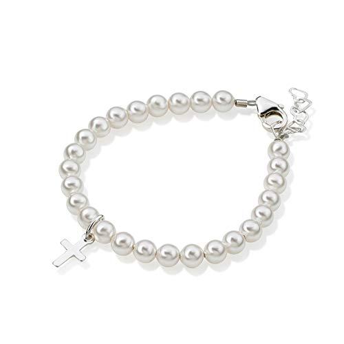 Crystal Dream Baptism White Swarovksi Simulated Pearls, Sterling Silver Cross Charm Christening Toddler Bracelet (BPW-C_L)
