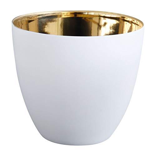 ASA Selection Photophore Porcelaine Blanc/Or 9 x 9 x 8 cm