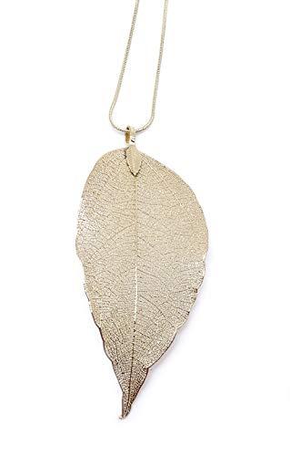 onweerstaanbaar1 Mooie handgemaakte gouden ketting met zeer gedetailleerd natuurblad 9 cm lang met 30 cm gouden ketting