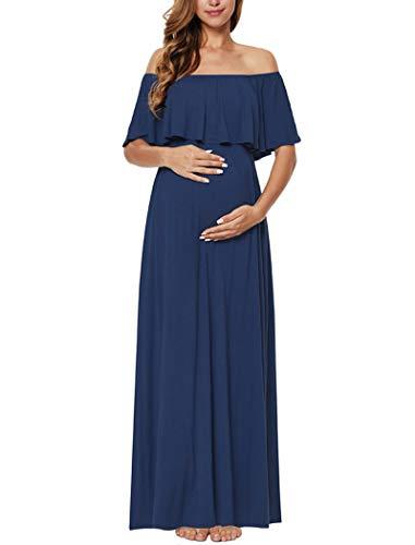 Blue off shoulder maxi dress