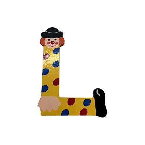 Holzbuchstaben Clown aus Holz, Buchstaben aus Holz, A-Z, H je ca. 9,0 cm, Wunschname (L)