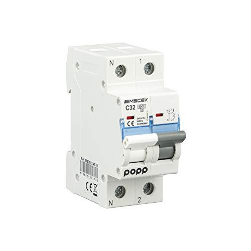 POPP Interruptor Automático Magnetotérmico industrial CURVA C 1P 2P 3P + 6A 10A 16A 20A 25A 32A 40A 50A 63A … (1P+N, 32A)