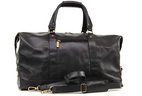 Ashwood Holdall van Echt Leer - Extra Groot Overnacht/Reizen/Business/Weekend/Gym Sports Duffle Bag - 2081 - Zwart